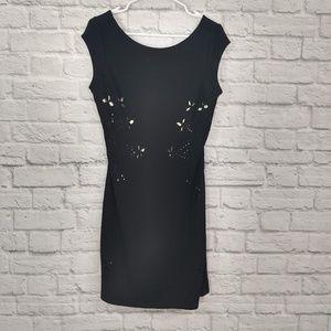 Desigual | Black Dress with Laser Cutouts & Gold